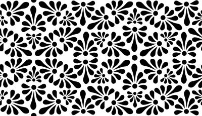 Talavera Fan Motif XXL - Black on White