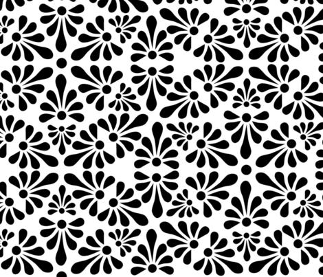 Talavera Fan Motif XXL - Black on White fabric by ameliae on Spoonflower - custom fabric