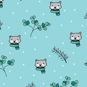 Christmas cats scrafs and winter kitten holiday design gender neutral blue