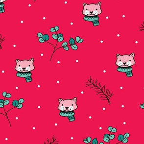 Christmas cats scrafs and winter kitten holiday design red pink girls
