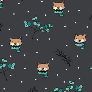Christmas cats scrafs and winter kitten holiday design gender neutral dark gray night