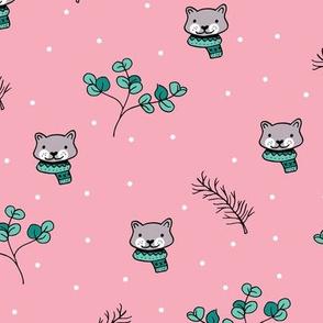 Christmas cats scrafs and winter kitten holiday design pink girls