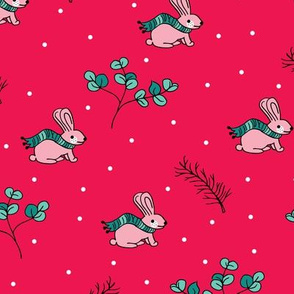 Sweet Christmas bunny winter scarf hare holidays design red pink