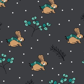 Sweet Christmas bunny winter scarf hare holidays design night