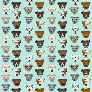 SMALL - Cute Pitbulls Glasses Fabric - dog fabric, dogs fabric, pitbull fabric, pitbulls fabric, pitbulls in glasses fabric - mint