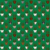 SMALL Funny Pitbull Christmas Reindeer fabric - dog fabric, dogs fabric, pitbulls fabric, christmas fabric, xmas fabric, cute reindeer fabric - green