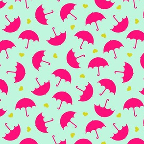 Umbrella love dancing in the rain Scandinavian mint raspberry pink