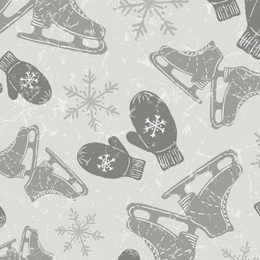 Vintage Ice Skates + Warm Woolen Mittens in Warm Gray // Textured Ice Pond Background + Hand Drawn Snowflakes // Vintage Christmas
