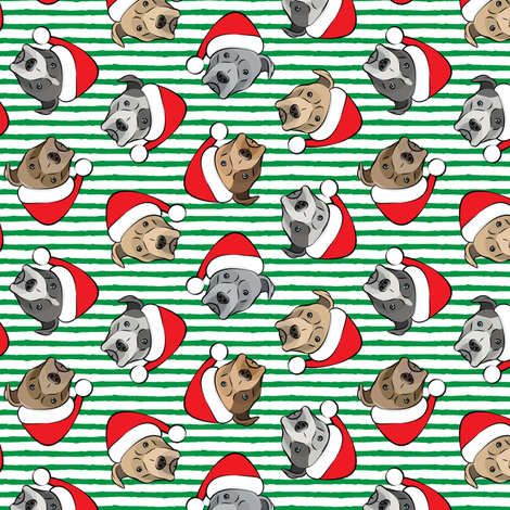 (small scale) All the pit bulls - Santa hats - Christmas Dog (green stripes) C18BS fabric by littlearrowdesign on Spoonflower - custom fabric