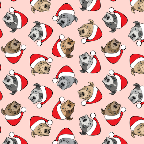 (small scale) All the pit bulls - Santa hats - Christmas Dog (pink)  C18BS fabric by littlearrowdesign on Spoonflower - custom fabric