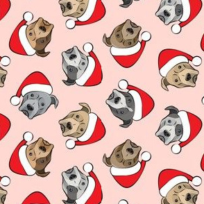 (small scale) All the pit bulls - Santa hats - Christmas Dog (pink)  C18BS