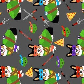 tri corgi ninja turtle - dog, dogs, cartoon, costume, halloween fabric - charcoal