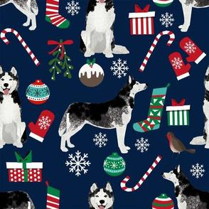 LARGE - Christmas Husky Dog Fabric - husky christmas dog fabric cute siberian husky design best huskies fabric cute dogs