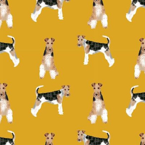 Wire Fox Terrier Mustard Dog Pattern Fabric - dog fabric, dog pattern fabric, dog pattern, wire fox terrier pattern, wire fox terrier fabric, fox terrier dog, cute dog fabric - mustard