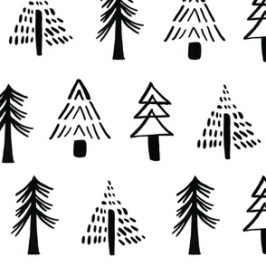 Ink+Ash Minimalist Holiday Trees, staggered