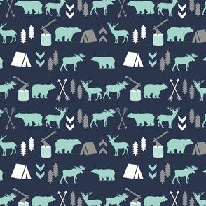 SMALL - woodland camping boys nursery grey mint navy blue kids outdoors bear tent wood trees forest