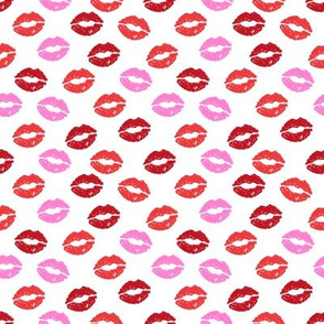 SMALL - valentines day lipstick kisses pattern fabric - kiss pattern, kiss fabric, makeup fabric, girly fabric - valentines day - pinks
