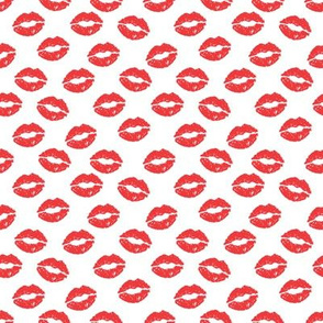 SMALL - valentines day lipstick kisses pattern fabric - kiss pattern, kiss fabric, makeup fabric, girly fabric - valentines day - red