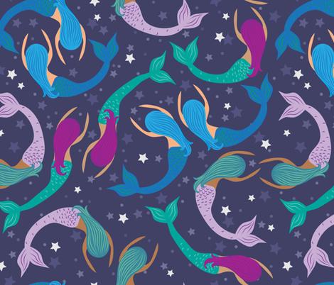 Mermaid sisters (Pisces) fabric by handypanda on Spoonflower - custom fabric