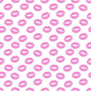 SMALL - valentines day lipstick kisses pattern fabric - kiss pattern, kiss fabric, makeup fabric, girly fabric - valentines day - bubblegum