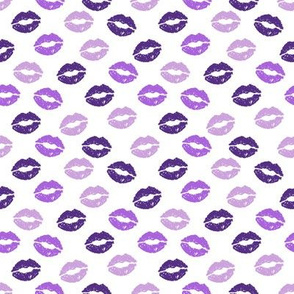 SMALL - valentines day lipstick kisses pattern fabric - kiss pattern, kiss fabric, makeup fabric, girly fabric - valentines day -purple
