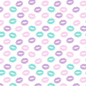 SMALL - valentines day lipstick kisses pattern fabric - kiss pattern, kiss fabric, makeup fabric, girly fabric - valentines day - pastel