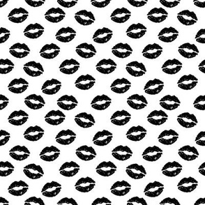 SMALL - valentines day lipstick kisses pattern fabric - kiss pattern, kiss fabric, makeup fabric, girly fabric - valentines day - black and white