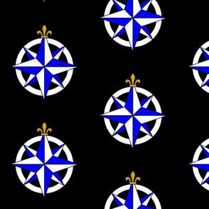 Compass Rose on Black
