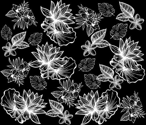 Flowers un black.  fabric by maria81 on Spoonflower - custom fabric
