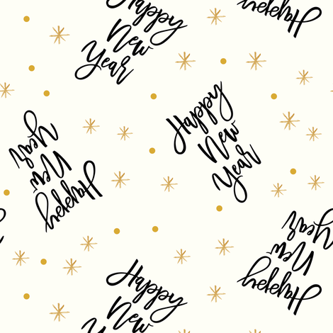 Happy New Year - Script OG fabric by littlearrowdesign on Spoonflower - custom fabric