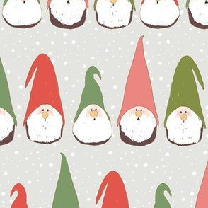 Christmas Gnomes Red and Green on light grey