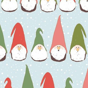 Christmas Gnomes Red and Green on light blue
