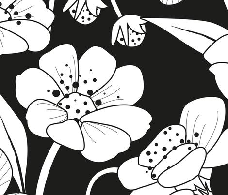 B/W Floral  fabric by arcosbydesign on Spoonflower - custom fabric