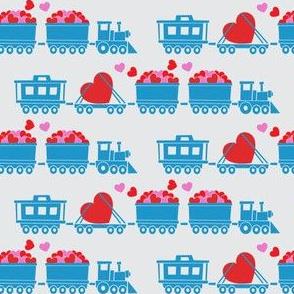Love train - blue on grey