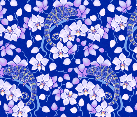 Chameleon and orchids - night fabric by elena_naylor on Spoonflower - custom fabric