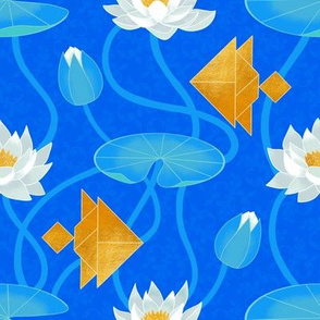 Tangram goldfish and water lilies in blue