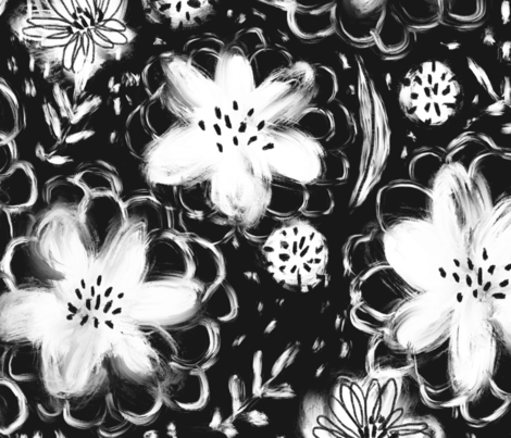 Block Print Florals - © Lucinda Wei fabric by lucindawei on Spoonflower - custom fabric
