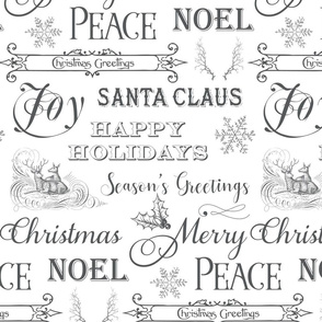 Christmas Typography, Christmas Greetings, Christmas Sayings in white