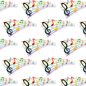 Sheet Music Notes Gradient on White