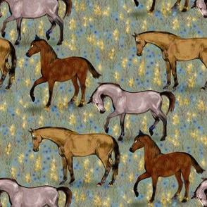 Elegant Horses in Fairy Field in Blue and Gold