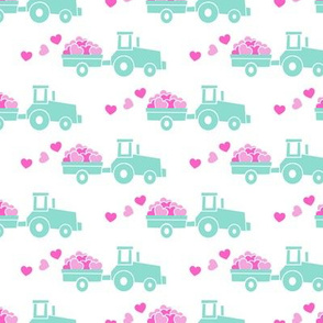 Tractors with hearts - valentines - teal and pink