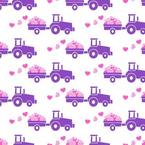 Tractors with hearts - valentines - purple and pink