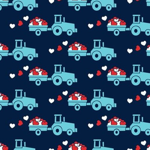 Tractors with hearts - valentines - blue on navy