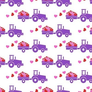 Tractors with hearts - valentines - purple - pink & red