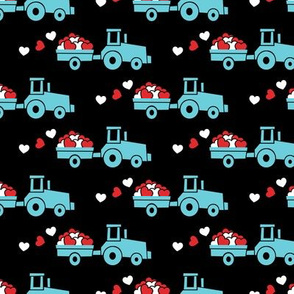 Tractors with hearts - valentines - blue on black