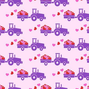 Tractors with hearts - valentines - purple on pink