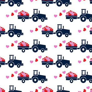Tractors with hearts - valentines - navy
