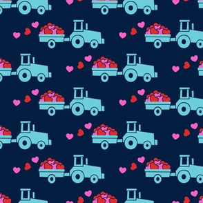 Tractors with hearts - valentines - blue on navy (pink and red)