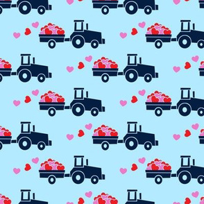 Tractors with hearts - valentines - navy on blue (pink and red)
