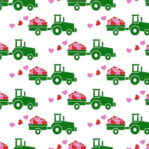 Tractors with hearts - valentines - green